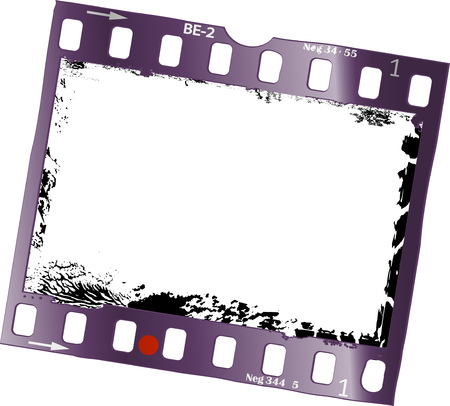Frame of film, grungy photo frame, free space for pix, vector illustration. Ilustração