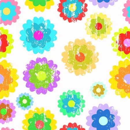 Retro pop art springtime flowers, seamless grungy pattern background