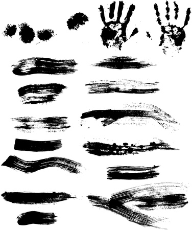 Collection of grungy paint strokes, drops and handprints, vector isolated  Vettoriali