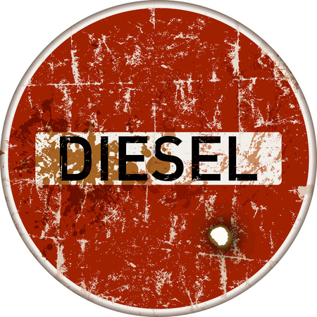 A ban on diesel cars in German cities, grungy traffic sign, danger of air pollution vector.