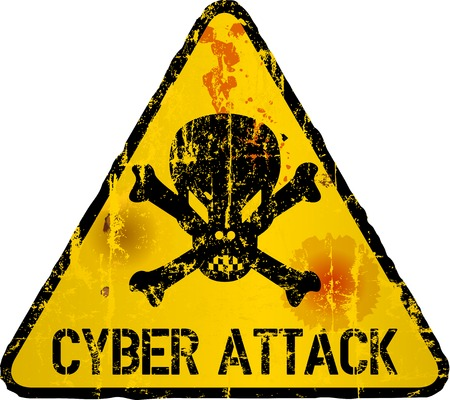 Cyber attack warning sign, grungy style, vector illustration.
