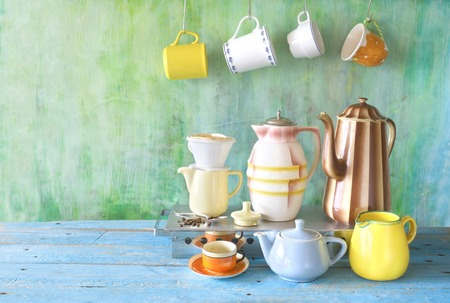 Vintage coffee pots, cups, coffee filter, coffee making concept, free copy space