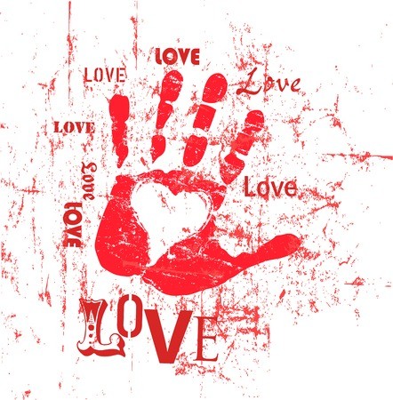 Heart and love illustration, grunge style, vector.