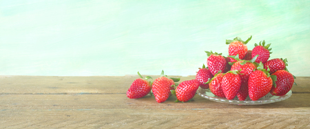 strawberries close up, on grungy background, free copy space, panorama, large format