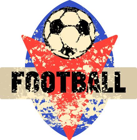 Football logo, grungy retro style, vector illustration Illustration