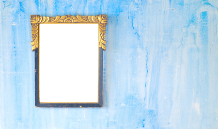 Vintage empty picture frame, grungy background Stock Photo