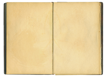 Open old book on isolated on white background Stock Photo
