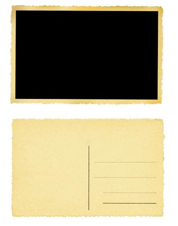 Old blank postcards or photo frames, free space for copy or pictures. Isolated on white. Stock Photo