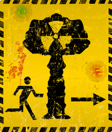 Nuclear explosion escape way sign, vector illustration.