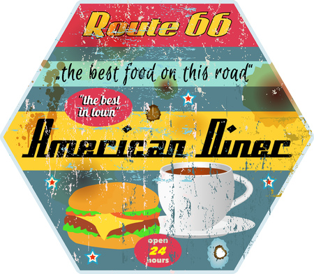 Vintage grungy route 66 diner sign, retro style vector illustration.