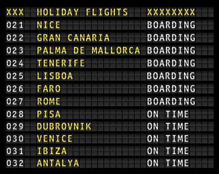 Airport flight information display wth european holiday travel destinations. Vector illustration