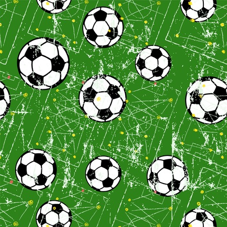 Soccer ball seamless pattern, football background, grungy style vector illustration.