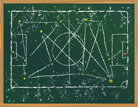 Grungy Soccer strategy tactics plan scribble on blackboard, vector