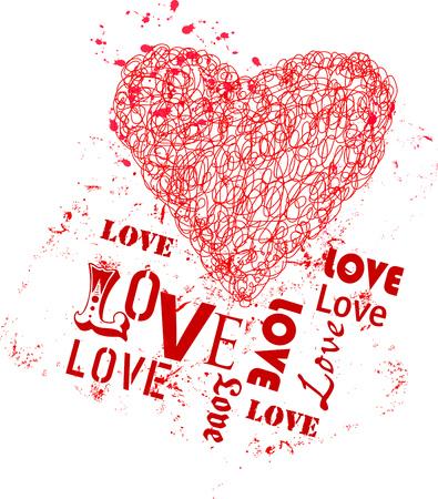 Grungy heart, love symbol. Vector illustration.