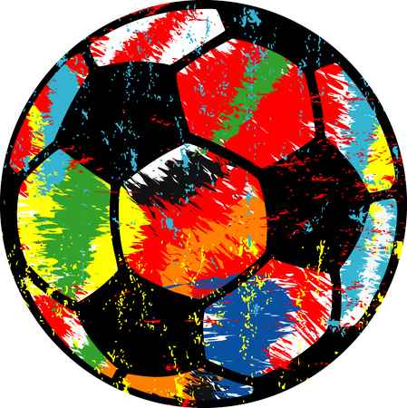 Soccer ball  football illustration, grungy style vector, isolated on white