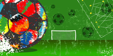 Grungy soccer or football illustration, vector with multi colored soccer ball, free copy space