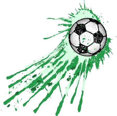 Soccer ball  football illustration, grungy style with paint splash, isolated on white, vector