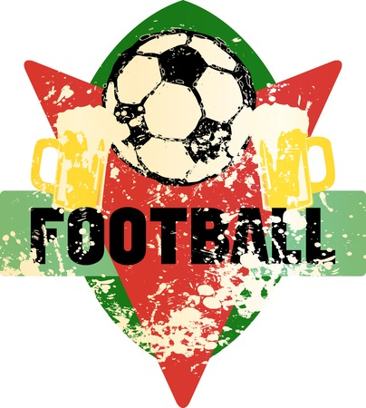 Soccer or football fictional grungy emblem with soccer ball and beer Illustration