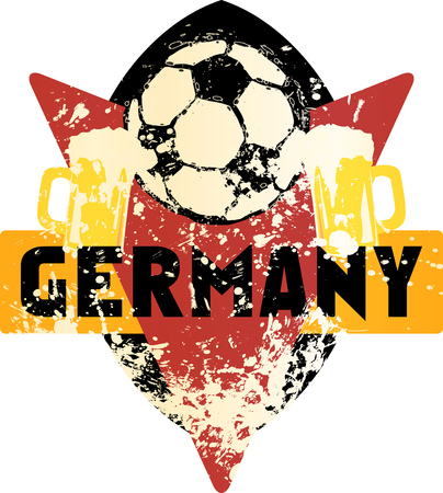 Soccer  Football fictional grungy emblem with soccer ball and beer german