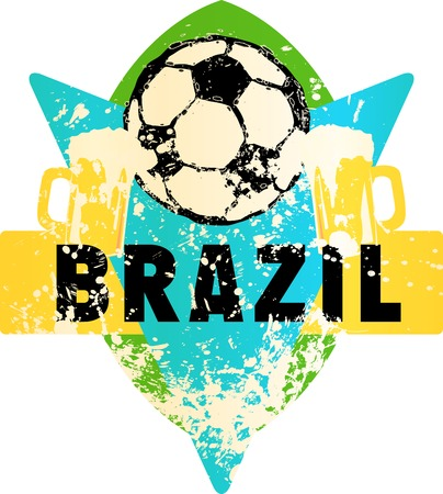 Soccer  Football fictional grungy emblem with soccer ball and beer, brazil, vector illustration