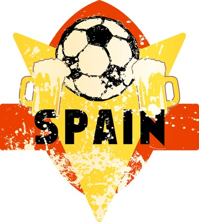 Soccer  Football fictional grungy emblem with soccer ball and beer, spain, vector illustration