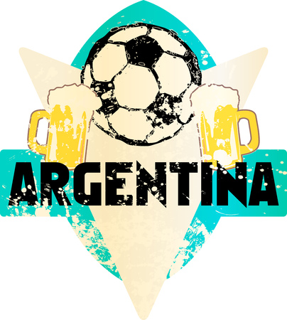Soccer  Football fictional grungy emblem sign with soccer ball and beer, argentina, vector illustration