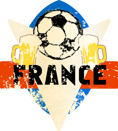 Soccer  Football fictional grungy emblem sign with soccer ball and beer, france, vector illustration Illustration