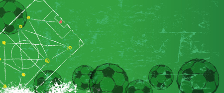 Soccer or football grunge style illustration design template, free copy space, vector