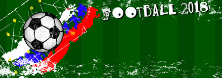 Soccer or Football grunge style illustration design template, free copy space, vector  Ilustração