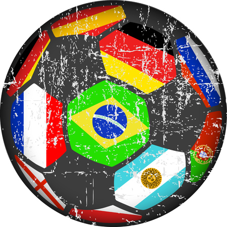 Soccer ball / football illustration, flags of top national teams, grungy style vector.