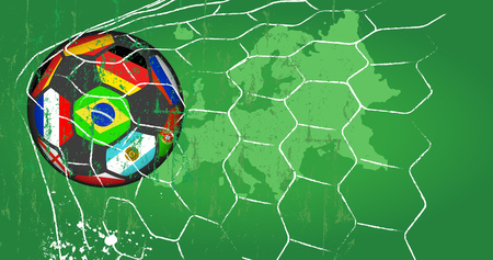 Soccer ball w. flags of top national teams in goal net, grungy style vector.