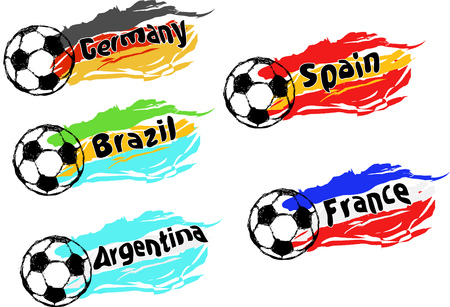 Football  soccer set of the best national teams, favorites of great soccer event