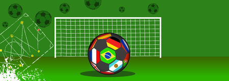 Soccer ball with flags of national teams and goal, soccer, soccer grungy style vector illustration or template. Free copy space