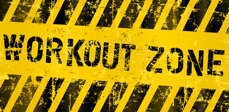 workout zone, sign for gym or gym, grungy style vector Illustration