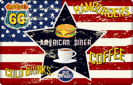 retro route 66 american diner sign, worn and weathered, vector eps Illustration