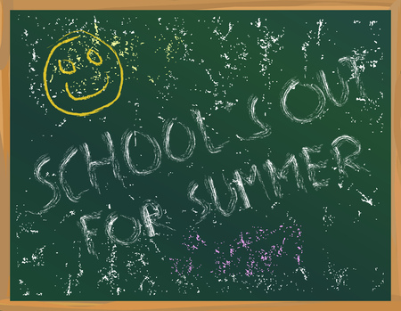 Schools out on a blackboard, vacation, holiday, summer, school themes