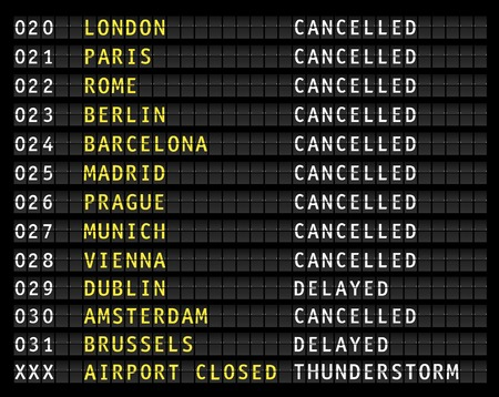 Flight information on an airport showing canceled flights because of a thunderstorm, vector
