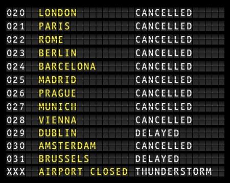 Información de vuelo en un aeropuerto que muestra vuelos cancelados debido a una tormenta eléctrica, vector