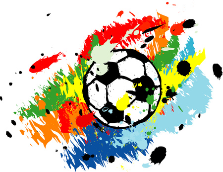 Soccer ball  football with paint splashes, grungy style vector, isolated on white
