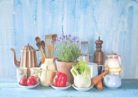 Vintage kitchen utensils and vegetables, food ingredients, cooking concept, free copy space Stock Photo