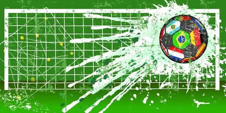 Soccer ball, football grunge style vector illustration