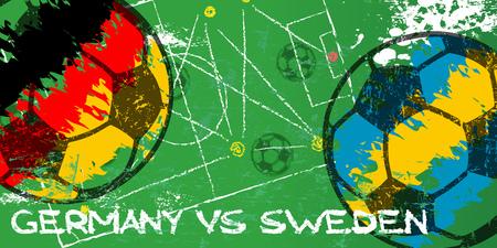 Germany vs Sweden Soccer or Football grunge style illustration