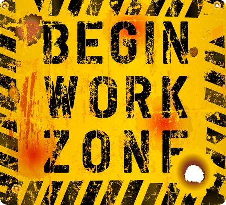 Grungy web page maintenance sign vector illustration, fictional artwork