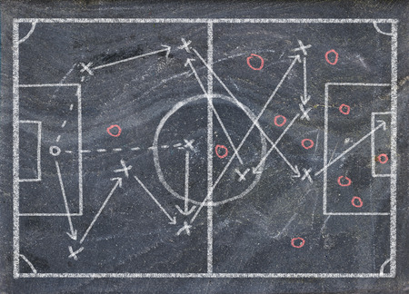 Soccer strategy tactics drawing, scribble on black board Stock Photo