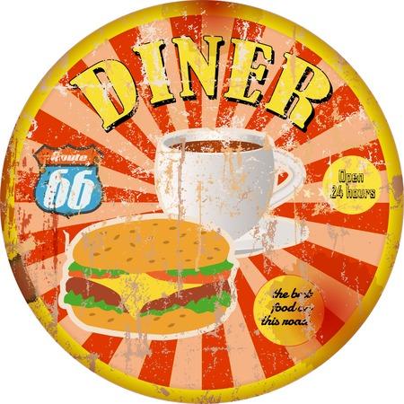 Retro american diner sign, super grungy style, vector artwork