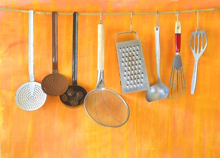 Vintage kitchen utensils, cooking, food preparation, vintage kitchen concept, free copy space Stock Photo