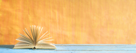 Open book on grungy background, panoramic, good copy space Stock Photo