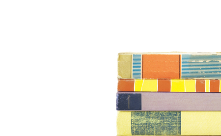 stack of books, isolated on white background, free copy space