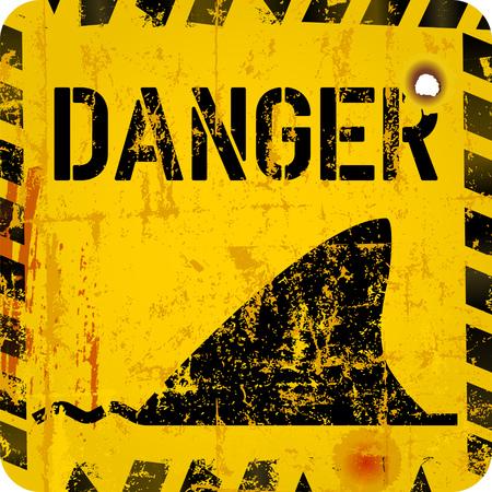 shark warning sign,grungy sytyle vector illustration