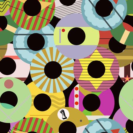 Seamless retro vnyl record labels pattern vector illustration, fictional vector art
